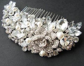 Victorian Style Crystal Flower Wedding Bridal Hair Comb, Vintage Style Wedding Bridal Hair Accessories, Pearl Bridal Wedding Comb, MARCELA
