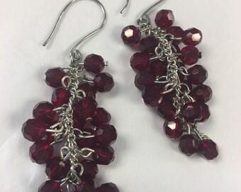 Red Cluster Earrings |Silver Earrings | Cluster Dangle Earrings | Beaded Earrings | Jewelry under 30 | Gifts under 30 | Ruby Earrings