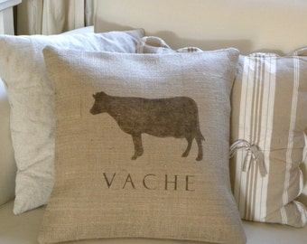 Burlap (hessian) French Cow Vache pillow cover