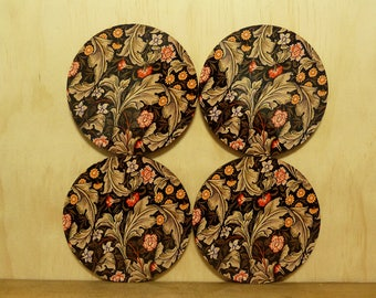 Set of 4 coasters - 95mm - Vintage Floral Pattern