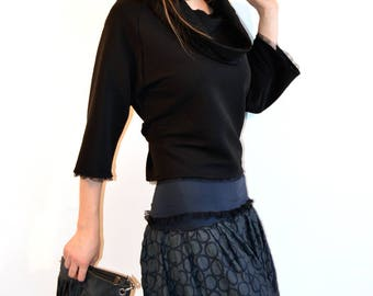 skirt grey with blue circles