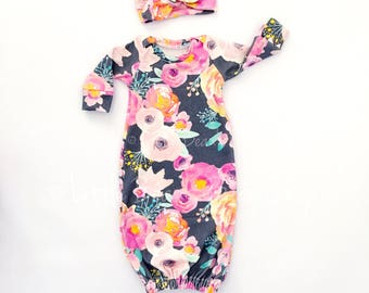 baby gown, baby girl, newborn girl gown, baby sleep gown, sleep sack, organic gown, newborn gown, preemie gown