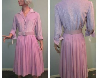 1960s Dress Lavender Georgette Metallic Belted Size 6-7 New with Tags