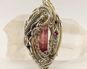 Tourmaline and garnet pendant