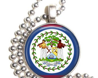 Belize Flag Altered Art Pendant, Earrings and/or Keychain, Round Photo Silver and Resin Charm Jewelry, Flag Earrings, Flag Key Fob