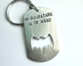 Godfather Keychain - My Hero - Personalized - My Godfather Is My Hero - Superhero - Gift From Godchild - Gift For Christening
