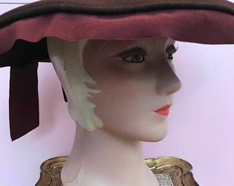 RESERVED 1940s hat cartwheel hat wool hat brown hat wide rim hat victorian style hat vintage hat 22 inch hat with bow
