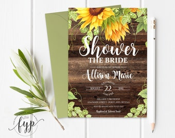 Rustic Bridal Shower Invitation Rustic Wedding Shower Invite