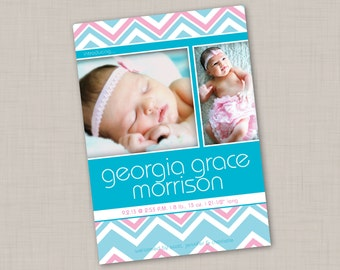 Bright Blue & Pink Chevron Birth Announcement (PRINT YOUR OWN)