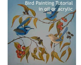 Blue wren painting tutorial in oil or acrylic, how to paint blue wrens in a tree, bird painting instructions, botanical painting, nature