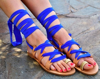 FREE SHIPPING Luxurious Blue Sandals / Lace up Royal blue Sandals / Tie Up Gladiator Sandals / Flat Sandals / Greek Leather / Beach wedding