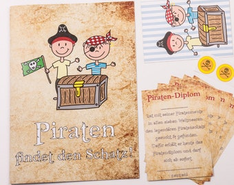 Treasure hunt for the children's birthday motto Pirate/Scavenger Hunting complete set with 6 Pirate diplomas treasure map and stickers
