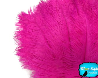"""Large Ostrich Feathers, 10 Pieces - 14-17""""  HOT PINK Ostrich Dyed Drabs Feathers : 3319"""
