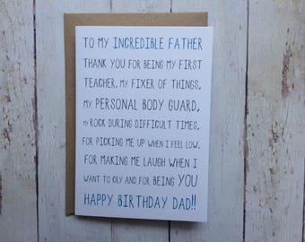 Dad birthday card // Funny Dad birthday card // Birthday card for Dad // Dad's Birthday // Father card // Daughter to Dad // Son to Dad
