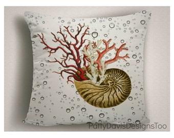 Patio Pillows Conch Shell Corral, Outdoor Pillow Cushions, Sea Shell Decor, Beach House Decorative Pillows, Large Pillow Cover