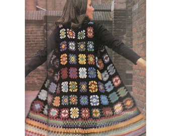 "Women's Boho Vest Crochet Pattern PDF Bust 34 to 36"" Granny Square Waistcoat Hippie Vintage 70s Instant Digital Download SKU 12-1"