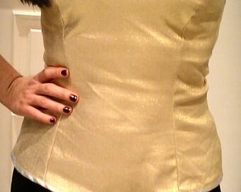 Gold Corset, Bustier Corset Top, Bustier, Gold Top, Sweetheart Top, Corset, Bandeau Top,Big Size Corset,Big Size Bustier