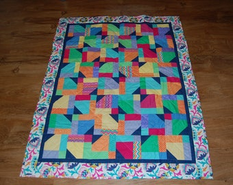 Colorful Baby Quilt in a Rainbow of Colors