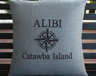 Nautical | Pillow Cover in Indigo Graphite Grey | Boat  Name | Captain Name | Lake | Yacht | Boat Name | Gift |  Personalized | Mariner Star