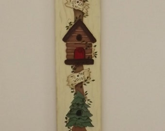 Welcome sign , northwoods welcome, cabin, canoe, pine tree, birdhouse, cabin birdhouse, canoe birdhouse, tree birdhouse, cabin decor, home