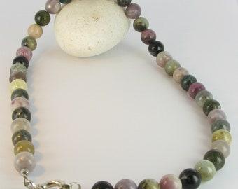 Tourmaline ball chain with 925/-Silver, Tourmaline neclace, Multicolour, Bottazzi Stony Lienz, kt118
