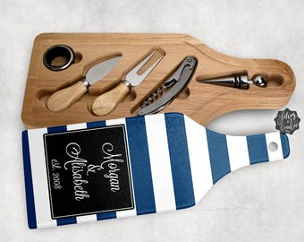 Wine and Cheese Gift Set, Personalized Cutting Board, Wine Gift Set, Wine and Cheese Board, Wedding Gift, Cheese board, Cutting Board, Gift