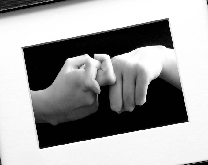 ASL FRIEND Print - American Sign Language -  5x7 Black and White print in 8x10 mat - Friendship Gift