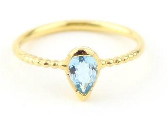 Aquamarine Solitaire Ring Aquamarine Ring 14K Solid Gold Ring