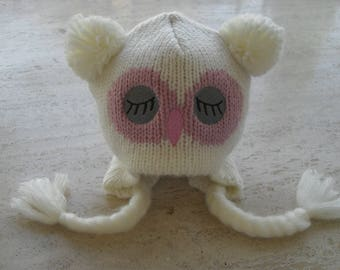 Knitted Baby Girl Hat, Baby Owl Hat, Baby Animal Hat, Baby Hat  - Size 3 to 5 Years Ready Made
