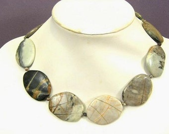 Necklace Silver Leaf Jasper 40mm Smooth Stones 925 NSSL5570