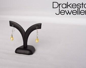 Yellow Swarovski Crystal Tear Drop Earrings