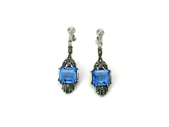 Vintage Art Deco Sterling Silver Blue Glass Marcasite Earrings