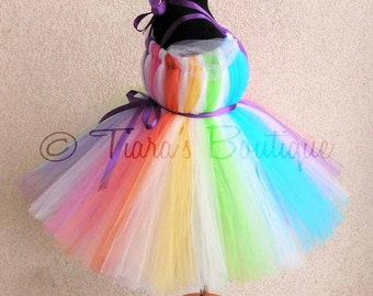 "Sewn Rainbow Tutu Dress - Candyland Dreams - up to size 24 months & 20"" long - Perfect for Birthdays and Halloween Costumes - Dress Only"