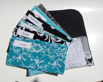 Cash Envelope Wallet, Cash Envelope System, Pouch and 5 to 15 Envelopes - Aqua Black Patchwork (It can be used with the Dave Ramsey system)