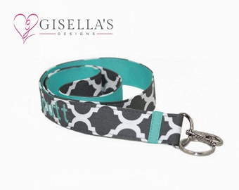 Grey quatrefoil and teal Personalized Badge Lanyard ID Holder, Monogram lanyard keychain, lanyards for id badges, lanyard for teachers.