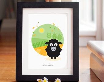 Baatholomew the sheep farm print || wall art || modern nursery decor || sheep print