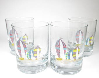 Vintage Rocks Glass Set Couroc Printed Sail Boats Colorful Bar Drinkware Clear Set of 4
