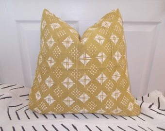 "20"" Mustard  Yellow African mudcloth white details mud cloth cloth pillow cover"