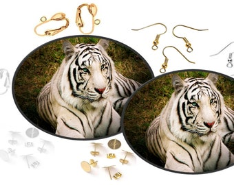 Beautiful Image Of A Blue Eyed Bengal Tiger Relaxing On The Grass - Decoupage Image Ear Art Earrings - White or Black Faux Leather Canvas