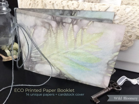 ECO Printed Paper Booklet No. 0005 - ECO Dyed Cardstock Covers + 14 Torn Edge Plant Dyed Papers