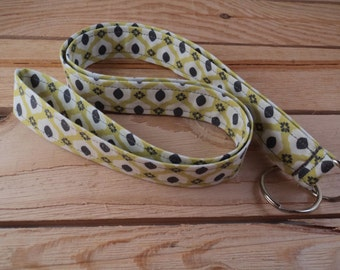 Fabric Lanyard - Geometric Pattern with Lime Green, Dark Grey and White