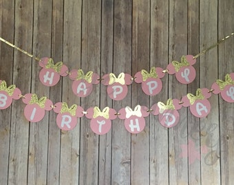 Pink and Gold Minnie Mouse Birthday Banner, Minnie Birthday, Party Decor, Gold Minnie, Pink Minnie, Glitter