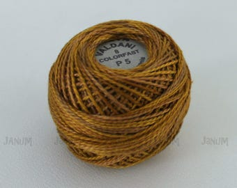 Size 8 Valdani Tarnished gold P5 Pearl cotton Variegated thread Ball - Hand dyed