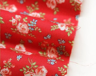 Flower Cotton Fabric - Red - By the Yard 52740