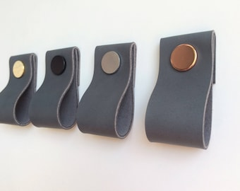 Leather Pulls / Leather Handles / Leather Cabinet Hardware / Leather Drawer Pulls / Leather Cabinet Handle / IKEA Cabinet Upgrade