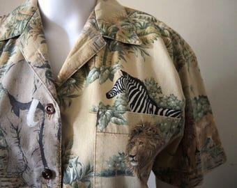 Vintage safari shirt blouse African wildlife print 1970s 1980s