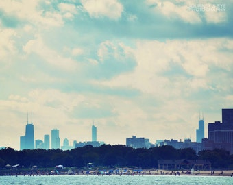 Chicago in Blue - Chicago photography, beach, blue, Illinois art, skyline, fine art photo, picture of Chicago
