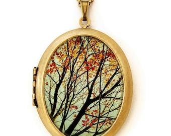 Autumn's Alchemy - Photo Locket - Fall Landscape Nature Tree Wearable Photo Locket Necklace