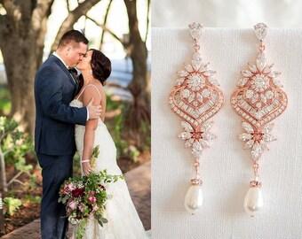 Rose Gold Bridal Earrings, Wedding Earrings, Long Statement Earrings, Crystal Bridal Jewelry, Swarovski Pearl Chandelier Earrings, EZMAE