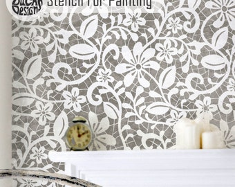 ELIZABETH LACE STENCIL - Traditional English Lace Botanical Wall Floor Furniture Craft Stencil for Painting - ELIZ01